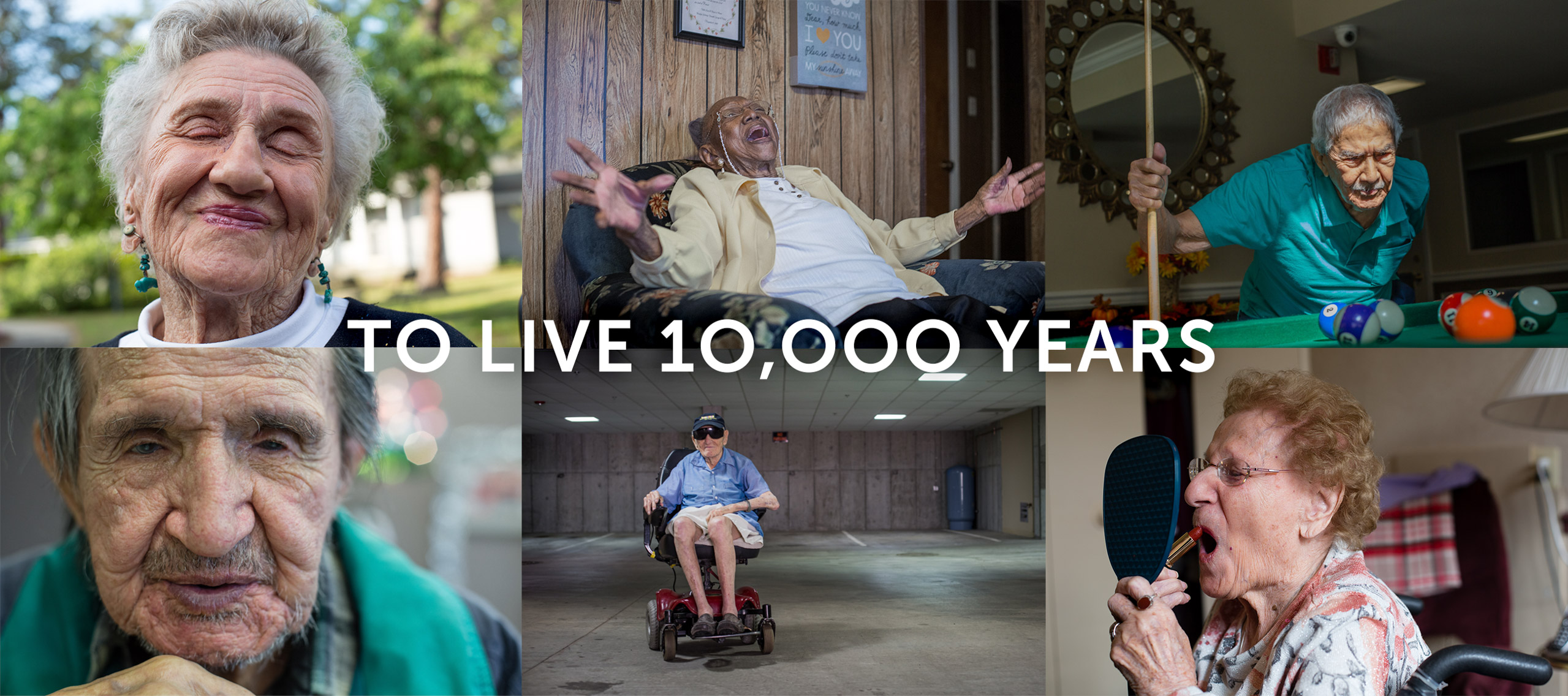Fullscreen composite of 6 photographs from the To Live 10,000 Years portrait series by Danny Goldfield.
